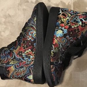 Black Hightops with Floral Embroidery, Beautiful.
